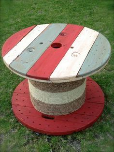 Rustic Americana Cable Spool Side Table or Coffee Table - red white and blue american flag table