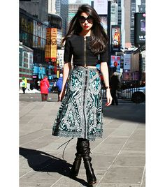 @Who What Wear - Denni Elias of Chic Muse  On Elias: Herve Leger top and skirt; Christian Louboutin boots