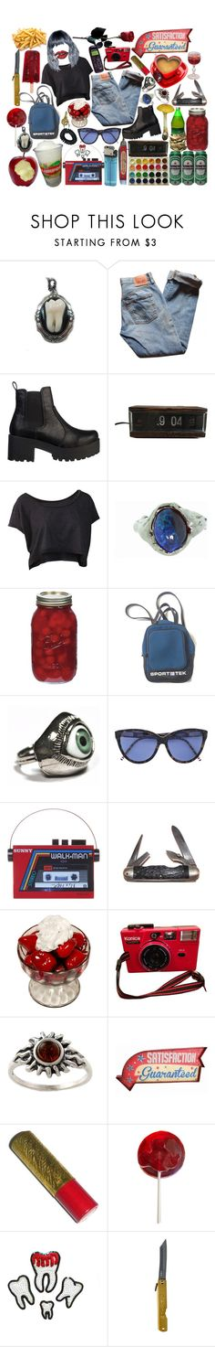 """satisfaction guaranteed."" by girlwiththepeacocktattoo ❤ liked on Polyvore featuring Levi's, Lipstik, Lucifer Vir Honestus, CO, Sarah's Bag, Market, Amber Sun, Gatsby and Disney"