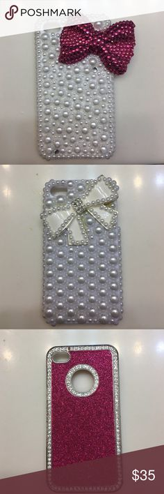 I'm selling some of my IPhone 4s cases 1. White/White Pearl with diamond @ bottom with Lg Magenta bow. 2.White/White Pearl w/ Lg White bow with Pearls & crystals. 3.Pink/Magenta encrusted crystal with boarded crystal. 4. Clear case with accented crystal & pearls with Lg 3D flowers 🌺. Accessories Phone Cases