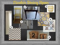 Grey and Yellow Dining Room Inspiration Mood Board - Lots of projects using fabric to tie together the space....DIY drapery, DIY fabric covered bulletin board, and DIY dipped leg  painted chairs and restained table.