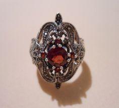 Sterling Silver Filigree Marcasite Garnet Ring