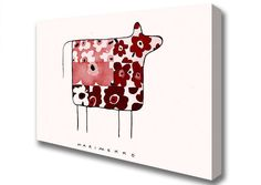 Red Poppy Cow Contemporary Canvas Print Wall Art A2 Size 03971