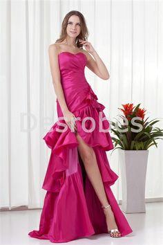 Robe de soirée fuchsia fente avant jupe à plusieurs niveaux en taffetas 2014