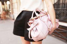 colors: pastel pink, cream, black