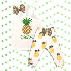Baby Girl Clothes Pineapple Outfit, Monogrammed Pineapple Outfit, Summer Outfit, Summer Vacation Outfit, Beach Outfit, Toddler Girl Clothes