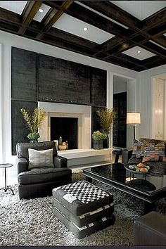 Contemporary Living Room with Custom Wood Box Beams Box ceiling Loom Decor Box&; Contemporary Living Room with Custom Wood Box Beams Box ceiling Loom Decor Box&; Diy projects for the home bedrooms […] Living Room green Home Living Room, Living Room Designs, Living Room Decor, Living Spaces, Living Area, Fireplace Surrounds, Fireplace Design, Fireplace Wall, Modern Fireplace