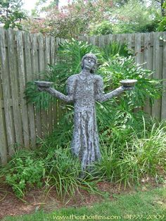 DIY Tutorial Girl Garden Sculpture from PVC and spray insulation from a can.