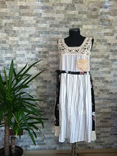 I want to make something with Dad's old shirt - see front of this dres.  SALE - Small - upcycled clothing / upcycled recycled repurposed / patchwork / wearable art / gipsy / hippie / bohemian dress / boho clothing