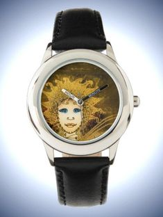 Kid's Stainless Steel Black Leather Strap Watch with Art Déco style Fairy