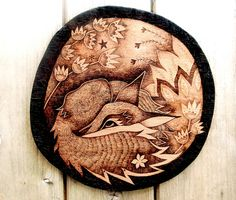 These are wood sleeping fox wall hangings, handmade by me. I cut the shape from high quality beech hardwood plywood and add the pyrography design, before applying a protective lacquer coating. They are just under 175 mm (7 in) diameter with a wire loop on the back for hanging. The wood is 9mm thick. Each is signed and numbered. I can add a personalised message on the back - if youd like that, just leave a note at checkout detailing the message. These are made to order - I require up to 10…