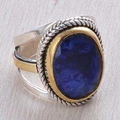 EXCLUSIVE 925 STERLING SILVER SAPPHIRE GEMSTONE 7.58g RING JEWLLERY R015643 #Handmade #RING
