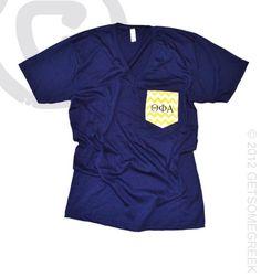 Theta Phi Alpha custom sorority chapter order on navy unisex v-necks with yellow chevron pockets! GetSomeGreek & Theta Phi Alpha!