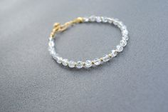 Ice Crystal and Gold Fine Bracelet Transparent by elfinadesign Stone Bracelet, Stone Jewelry, Ice Crystals, Crystal Bracelets, Friendship Bracelets, Gemstones, Unique Jewelry, Handmade Gifts, Gold