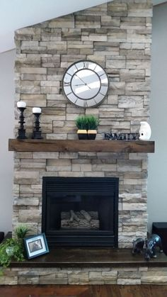 What a sweet floating mantel! Does your fireplace need a remodel? Check out the options we have for you on our website! What a sweet floating mantel! Does your fireplace need a remodel? Check out the options we have for you on our website! Farmhouse Fireplace, Home Fireplace, Fireplace Remodel, Modern Fireplace, Fireplace Design, Fireplace Mantels, Rustic Farmhouse, Fireplace Ideas, Fireplace Decorations