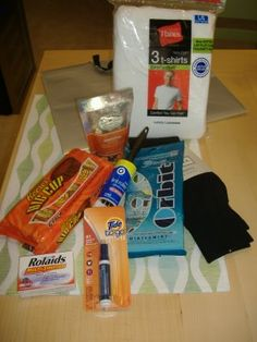 Ha cute idea for the Mr. Groom....wedding day survival kit!