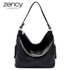 9ae3a14c26 Zency 100% Genuine Leather Women Shoulder Bag With Tassel Hobos Fashion  Lady Messenger Crossbody Purse Black Handbag Quality A+-in Shoulder Bags  from ...