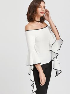 Shop White Contrast Trim Off The Shoulder Flared Sleeve Top online. SheIn offers White Contrast Trim Off The Shoulder Flared Sleeve Top & more to fit your fashionable needs. Fashion 2017, Fashion Dresses, Modelos Fashion, Stylish Tops, Bell Sleeve Blouse, White Fashion, Dress Patterns, Blouse Designs, Clothes For Women