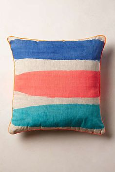 Anthropologie - Coral Stripe Pillow
