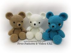 Crochet Bear Free Amigurumi Teddy Bear Pattern - FREE amigurumi patterns and tutorials to make the cutest crochet toys. This crochet style is very easy and fun, and your kids will love you for it. Crochet Bear, Crochet Patterns Amigurumi, Cute Crochet, Crochet Animals, Crochet Crafts, Crochet Dolls, Crochet Projects, Amigurumi Tutorial, Crochet Teddy Bear Pattern Free