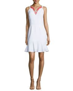 Sleeveless Beaded-Neckline Dress, Optic White, Size: 12 - Laundry by Shelli Segal
