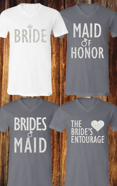 NOW Cute Plus Size #Wedding Shirts! High Quality glitter print shirts for the #Bride, #Bridesmaids and more. Buy more and save at www.MrsBridalShop.com