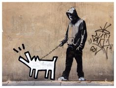 Walk Haring's Dog by Banksy Giclée Art Print