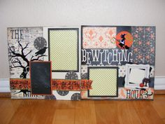 Made this 2 page Halloween scrapbook page layout at The Little Blue House in Keller, Texas. Made by Saundra