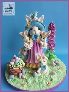 Fondant Cake Topper Sweet Easter Collaboration; Easter bunnies! by Cake Garden Houten / lalique1