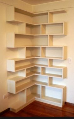 Once thought of as an organizational necessity hidden behind closed doors, shelves have come out of the closet and made a grand entry into the design Corner Shelf Design, Wall Shelves Design, Diy Shelving, Diy Dvd Shelves, Diy Bookshelf Design, Unique Wall Shelves, Creative Bookshelves, Corner Bookshelves, Bookcase