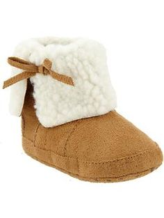 Sherpa-Lined Sueded Booties for Baby | Old Navy $12.94