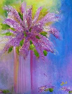 """A painting I recently did to welcome Spring and Summer, the """"Lovely Lilacs"""" is acrylic on canvas and now my lilacs are starting to bloom!"""