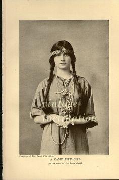 Antique Edwardian Era Photo Print, A CAMP FIRE GIRL 1906. $14.00, via Etsy.