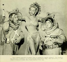 ABBOTT & C0STELLO GO TO MARS (1953) - Bud Abbott (pictured) - Lou Costello (pictured) -Mari Blanchard (pictured) - Robert Paige - Horace McMahon - Miss Universe Contest Beauties - Directed by Charles Lamont- Universal-International - Publicity Still.