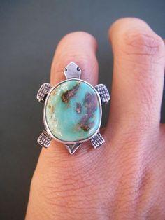 Pilot mountain turquoise turtle ring size 5