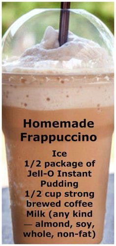 Save money by making your regular frappuccino at home! Homemade Frappuccino Recipe - Save money by making your regular frappuccino at home! Save money by making your regular frappuccino at home! Summer Drinks, Fun Drinks, Healthy Drinks, Healthy Food, Beverages, Refreshing Drinks, Healthy Recipes, Tuna Recipes, Dessert Drinks