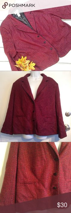 """PLUS SIZE Metallic Tweed Knit Blazer Jacket Covington plus size red, purple, black, and metallic gold tweed knit blazer jacket. Three buttons up the front. Two pockets. Great for the office, holidays, or any time you want to add some class and shine. Size 24W. Measures approx 26"""" flat from armpit to armpit and 24"""" shoulder to hem. No modeling. Smoke free home, I do discount bundles. Covington Jackets & Coats Blazers"""