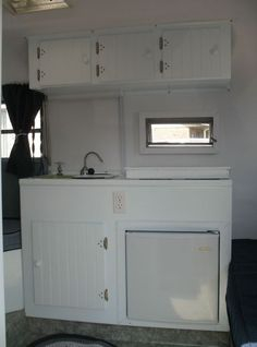 Sky blue boler kitchen.