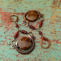 Blood Moon Earrings, Door 44 Jewelry, Copper Chandelier Earrings, Rustic Wire-Wrapped Earrings, Classic Chalice Earrings, Made in Colorado