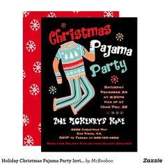 Holiday Christmas Pajama Party Invitation Christmas Pajama Party, Christmas Pajamas, Ugly Christmas Sweater, Holiday Parties, Holiday Fun, Christmas Holidays, Holiday Party Invitations, Ugly Sweater Party, Invitation Design