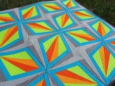 A Quilting Jewel: Dazzling Diamonds Finished...amazing day-glo look