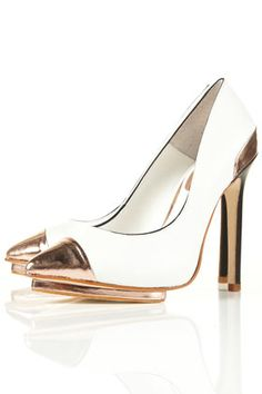metallic toe-cap heels