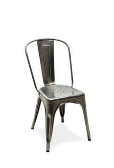 Chaise A  - brut verni brillant by Tolix.  Retrouvez nos chaises de diner design sur amateur de design: http://www.amateurdedesign.com/
