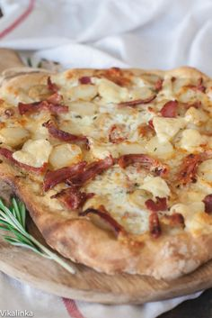 Potato and Pancetta Pizza with Fresh Mozzarella and Edam Cheese