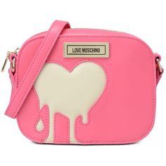 Love Moschino Shoulder Bag ($190) ❤ liked on Polyvore featuring bags, handbags, shoulder bags, pink, zip purse, zipper handbag, pink handbags, zipper purse and zip shoulder bag
