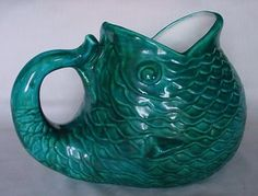 GORGEOUS Vintage Pottery Fish Water Pitcher Tail Handle Great Detail Signed N M