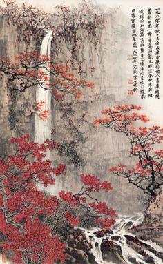 bai autumn landscape in Chinese Landscape Painting, Landscape Paintings, Chinese Painting Flowers, Samurai Artwork, Japon Illustration, Japan Painting, Art Japonais, Korean Art, Japan Illustration
