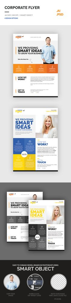 Set of Corporate flyer template included 4 flyer with 2 design options. It can be use for any business as well as personal or freelance business also. You will get both version PSD & .AI, can edit easily of its fonts, color, images & shapes. Its fully editable flyer in Photoshop & Illustrator.