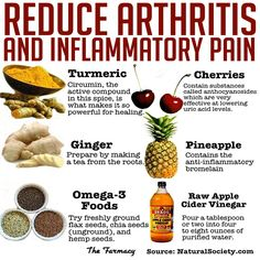 Inflammatory foods cause discomfort, heart conditions and degenerative diseases such as Arthritis if not treated and prevented. If you feel tension or swelling in your joints try some of these foods on the picture and there are links below to learn more about natural options:  Natural cures for arthritis and inflammation: http://www.naturalcuresnotmedicine.com/2013/07/reduce-arthritis-and-inflammatory-pain.html