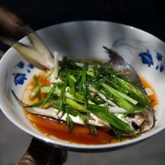 Chinese steamed fish with scallions (Main course) #saveur #dinnerparty